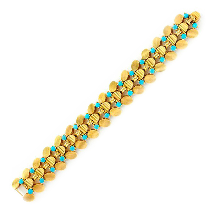 A Gold and Turquoise Bracelet, by Boucheron