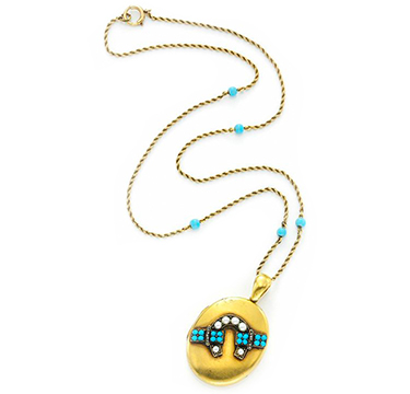 An Antique Pearl, Turquoise and Gold Horseshoe Locket