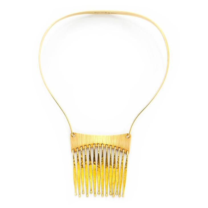 A Textured 14k Gold Tassel Necklace, by Bent Gabrielsen, circa 1970