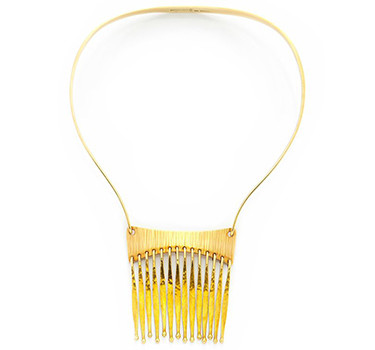 A Textured 14k Gold Tassel Necklace, By Bent Gabrielsen, Circa 1970