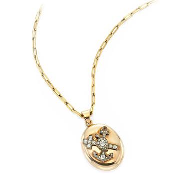 An Antique Russian Gold And Diamond Locket Pendant, Circa 19th Century