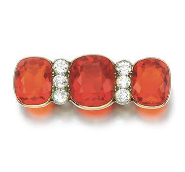 An Antique Fire Opal And Diamond Bar Pin