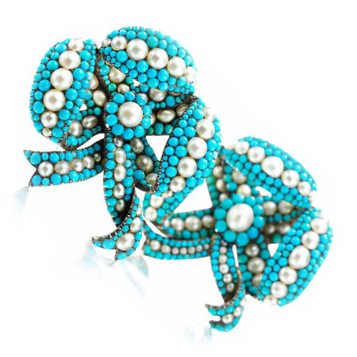 A Pair of Antique Natural Pearl and Turquoise Bow Brooches, circa mid 19th century