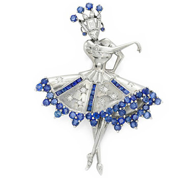A Sapphire, Diamond And Platinum 'Ballerina' Brooch, Circa 1935