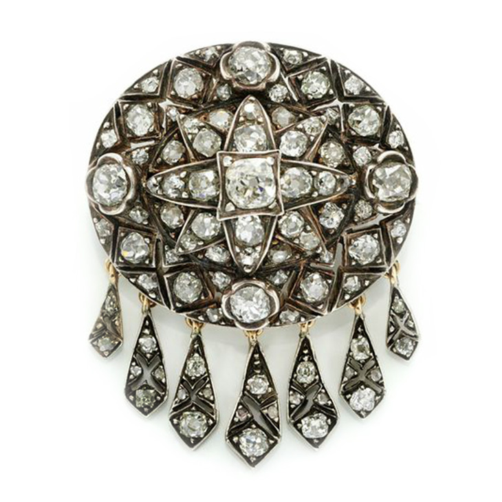 An Antique Old Mine and Rose-cut Diamond Tassel Brooch, 19th Century