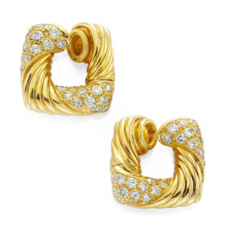 A Pair of Textured Gold and Diamond Hoop Ear Clips, by Hermes, circa 1970