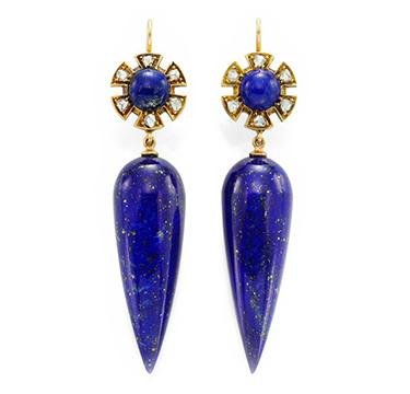 A Pair of Antique Lapis Lazuli, Diamond and Gold Ear Pendants, circa 19th Century