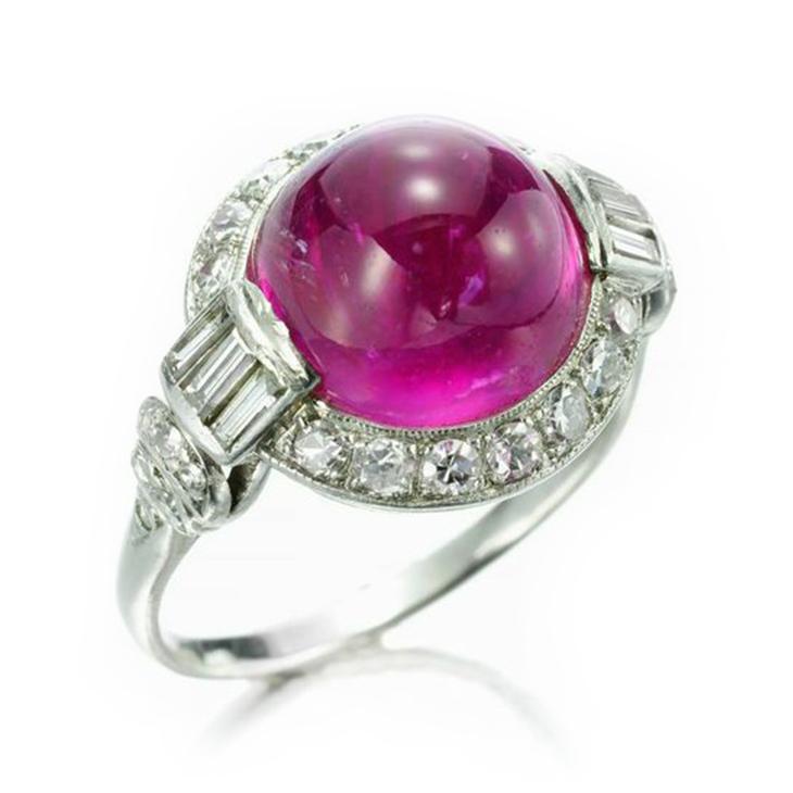 An Art Deco Burmese Pink Sapphire and Diamond Ring