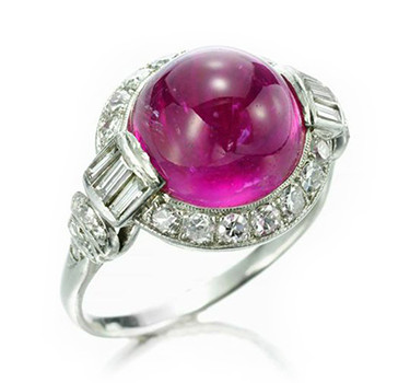 An Art Deco Cabochon Ruby And Diamond Ring