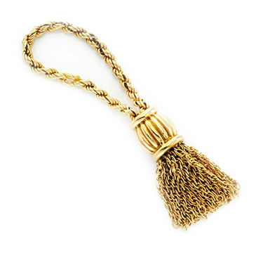 A Textured Gold Tassel Keychain, by Hermes, circa 1970