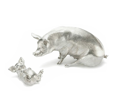 A Pair Of Sterling Silver Pigs, By Asprey
