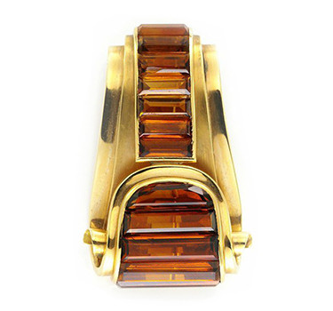 A Retro Citrine And Gold Clip Brooch, By Cartier, Circa 1940