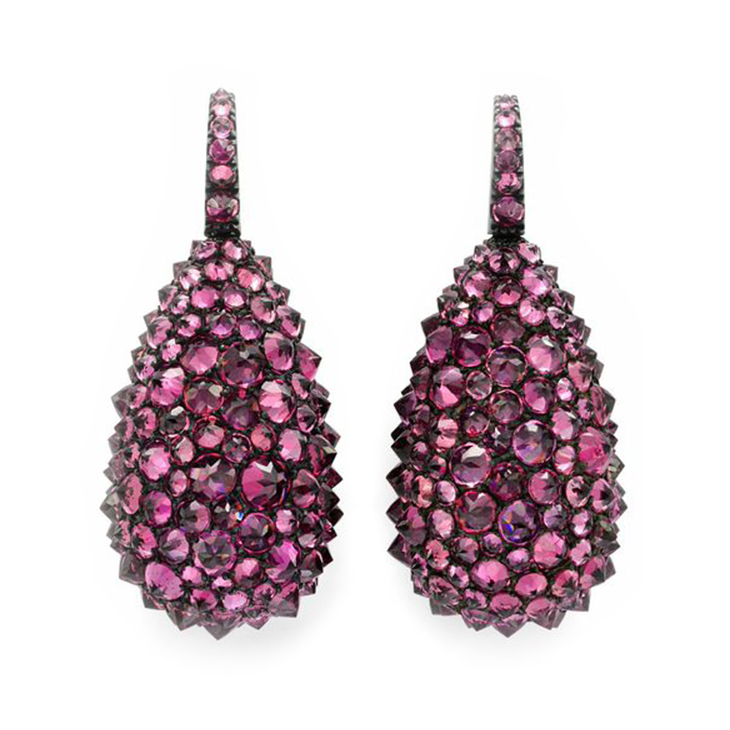 A Pair of Rhodolite Garnet, Silver and White Gold Ear Pendants, by Hemmerle