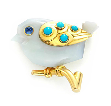 A Turquoise, Agate and Gold Bird Brooch, by Cartier, circa 1950