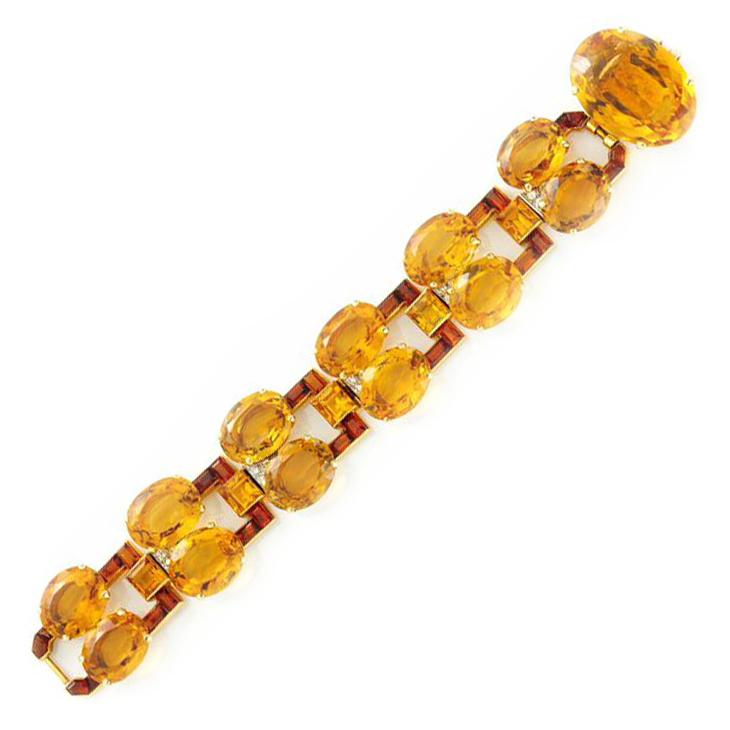 A Retro Citrine and Diamond Bracelet, by Cartier, circa 1940