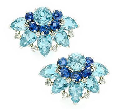 A Pair Of Aquamarine, Sapphire And Diamond Ear Clips, By Cartier, Circa 1940