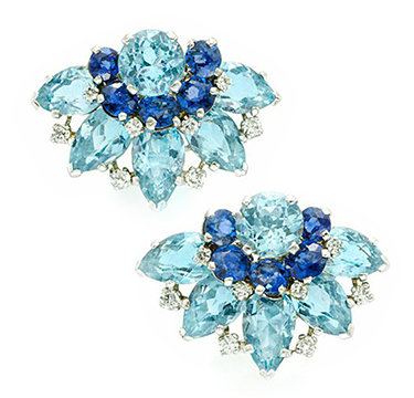 A Pair Of Aquamarine, Sapphire And Diamond Ear Clips, By Cartier, Circa 1940