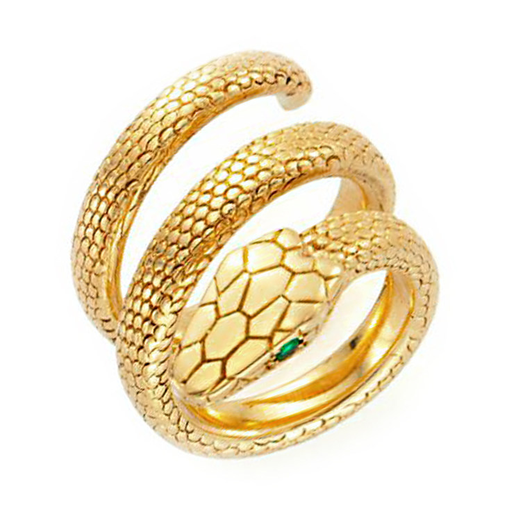 25e65edf128b3 FD Gallery   A Sculpted Gold Snake Ring, with emerald-cut eyes, by ...