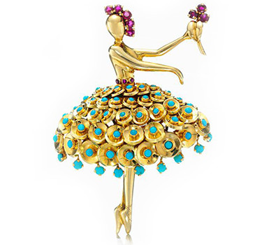 A Ruby And Turquoise 'Ballerina' Brooch, By Van Cleef & Arpels, Circa 1940