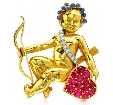 A Sapphire, Ruby And Diamond Cherub Brooch, By Van Cleef & Arpels, Circa 1940