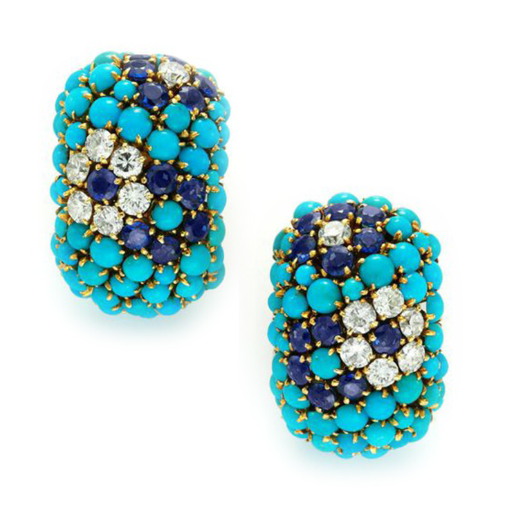 A Pair of Turquoise, Sapphire and Diamond Bombé Ear Clips, by Van Cleef & Arpels, circa 1965