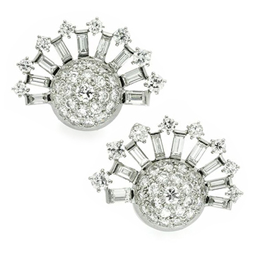 A Pair Of Diamond And Platinum Ear Clips, By Van Cleef & Arpels, Circa 1940