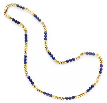 A Lapis Lazuli Bead And Gold Chain Necklace, By Van Cleef & Arpels, Circa 1970
