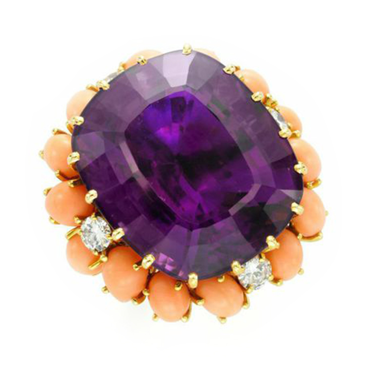 An Amethyst, Coral and Diamond Ring, by Van Cleef & Arpels, circa 1960