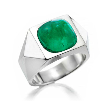An Emerald And Platinum Ring, By Suzanne Belperron