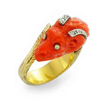 A Carved Coral Ram And Diamond Ring, By Paul Flato, Circa 1970