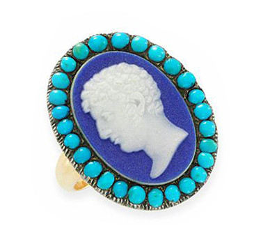 A Georgian Wedgwood Cameo And Turquoise Ring, Circa 1800