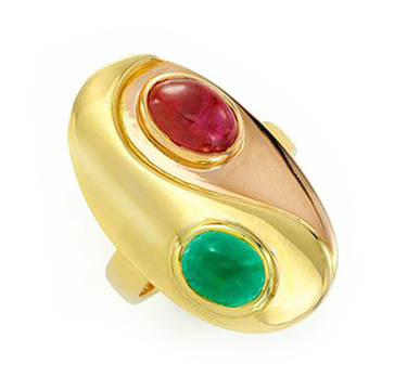 A Bi-colored Gold, Cabochon Ruby and Emerald Ring, by Bulgari, circa 1970