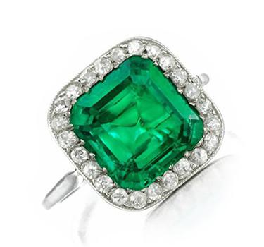 An Edwardian Emerald And Diamond Ring, Circa 1910