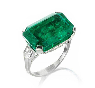 An Art Deco Colombian Emerald And Diamond Ring, Circa 1920