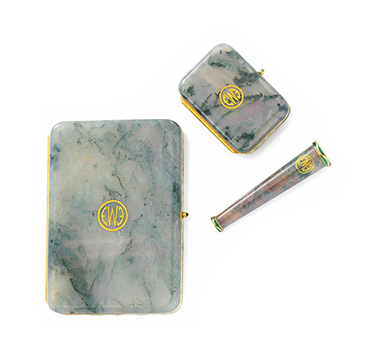 A Moss Agate and Gold Smoking Set, by Dreicer, circa 1915