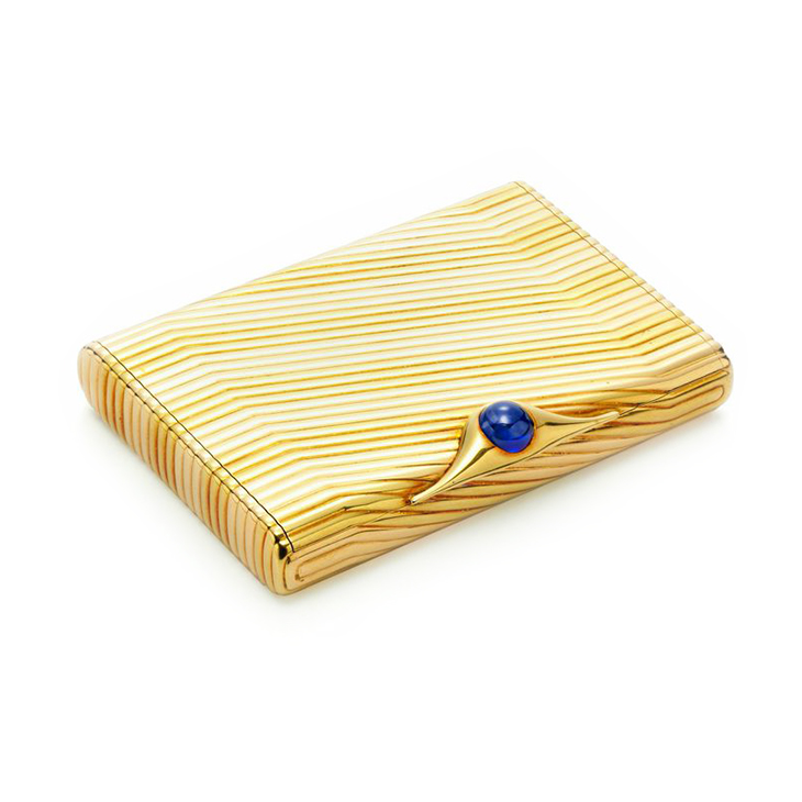 A Bi-colored Gold and Sapphire Cigarette Case, by Bulgari, circa 1960