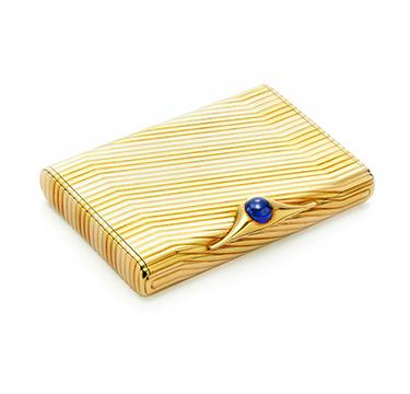 A Bi-colored Gold and Sapphire Cigarette Case, by Bulgari, circa 1960