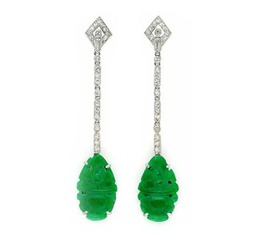 A Pair Of Art Deco Carved Jade And Diamond Ear Pendants