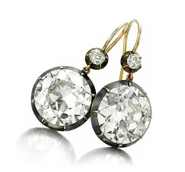 A Pair Of Old European-cut Diamond Ear Pendants, Of 14.77 And 14.59 Carats, Mounted In Silver And Gold