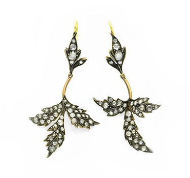 A Pair Of Antique Old European-cut Diamond, Silver And Gold Ear Pendants