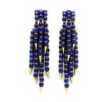 A Pair Of Lapis Bead And Gold Ear Pendants, Circa 1970