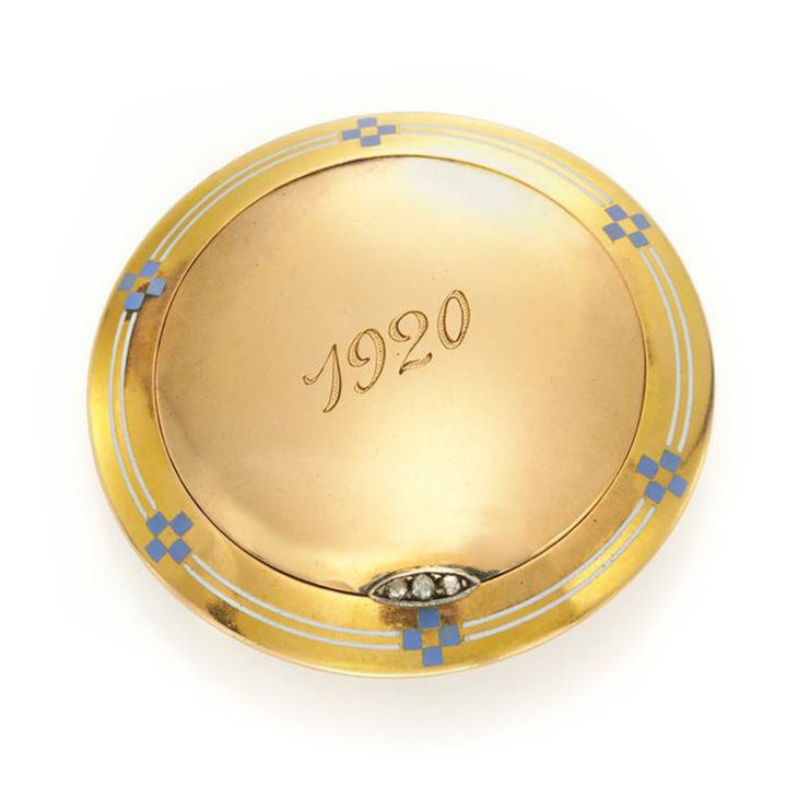 An Art Deco Enamel, Gold and Diamond Pillbox, by Cartier, circa 1920