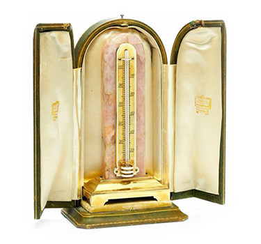 An Art Deco Enamel, Gold And Rose Quartz Desk Thermometer, By Cartier, Circa 1925