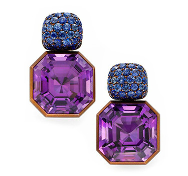 A Pair Of Amethyst And Sapphire Ear Clips, By Hemmerle