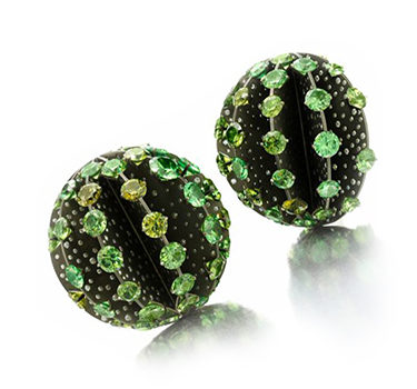 A Pair Of Demantoid Garnet, Diamond And Titanium Ear Clips, By SABBA