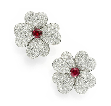 A Pair Of Circular Cut Ruby And Diamond Flower Ear Clips By Van Cleef