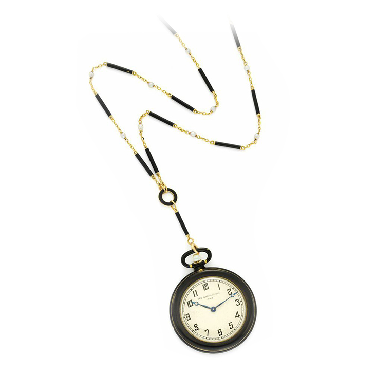 An Art Deco Black Enamel and Gold Pocket Watch, circa 1925