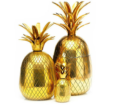 A Set Of Gilt Brass Pineapple Ice Buckets, C.1970