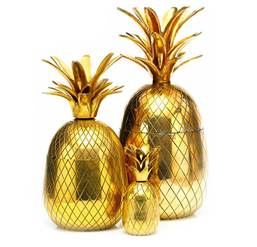 A Set Of Gilt Brass Pineapple Ice Buckets, C.1970