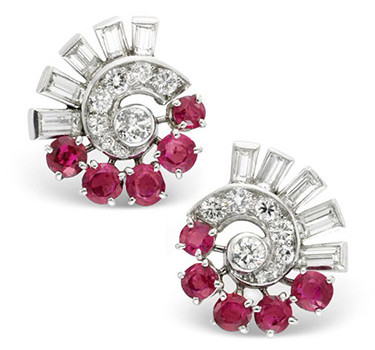 A Pair Of Ruby And Diamond Ear Clips, Circa 1935